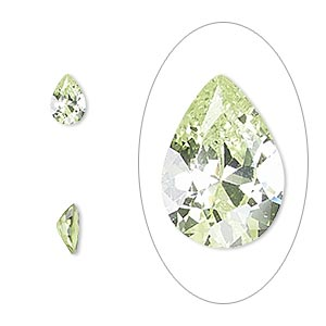 gem, cubic zirconia, peridot green, 7x5mm faceted pear, mohs hardness 8-1/2. sold per pkg of 2.