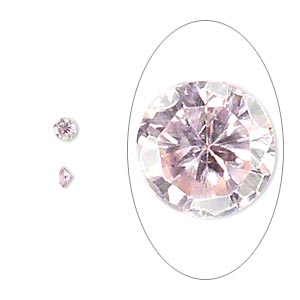 gem, cubic zirconia, pink, 3mm faceted round, mohs hardness 8-1/2. sold per pkg of 10.