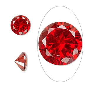 gem, cubic zirconia, ruby red, 10mm faceted round, mohs hardness 8-1/2. sold individually.