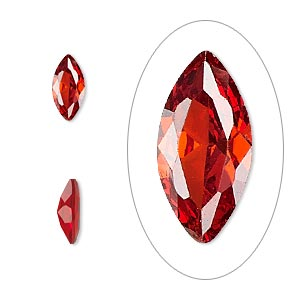 gem, cubic zirconia, ruby red, 10x5mm faceted marquise, mohs hardness 8-1/2. sold individually.