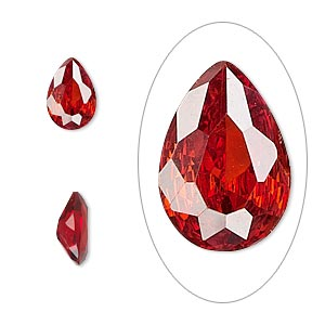 gem, cubic zirconia, ruby red, 10x7mm faceted pear, mohs hardness 8-1/2. sold individually.