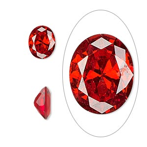 gem, cubic zirconia, ruby red, 10x8mm faceted oval, mohs hardness 8-1/2. sold individually.