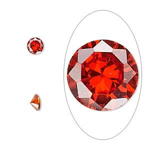 gem, cubic zirconia, ruby red, 5mm faceted round, mohs hardness 8-1/2. sold per pkg of 2.