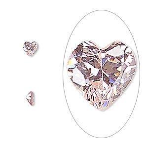gem, cubic zirconia, sapphire rose, 4x4mm faceted heart, mohs hardness 8-1/2. sold per pkg of 5.