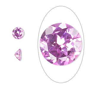 gem, cubic zirconia, sapphire rose, 6mm faceted round, mohs hardness 8-1/2. sold per pkg of 2.