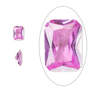 gem, cubic zirconia, sapphire rose, 7x5mm faceted emerald-cut, mohs hardness 8-1/2. sold per pkg of 2.
