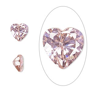 gem, cubic zirconia, sapphire rose, 8x8mm faceted heart, mohs hardness 8-1/2. sold individually.