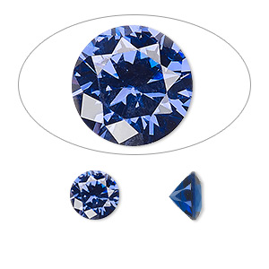 gem, cubic zirconia, spinel blue, 8mm faceted round, mohs hardness 8-1/2. sold individually.