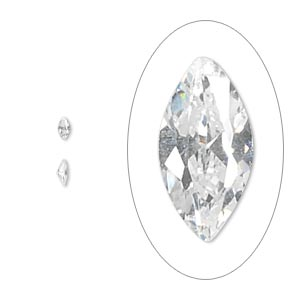 gem, cubic zirconia, spinel white, 4x2mm faceted marquise, mohs hardness 8-1/2. sold per pkg of 5.