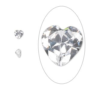 gem, cubic zirconia, spinel white, 4x4mm faceted heart, mohs hardness 8-1/2. sold per pkg of 5.