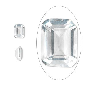 gem, cubic zirconia, spinel white, 7x5mm faceted emerald-cut, mohs hardness 8-1/2. sold per pkg of 2.