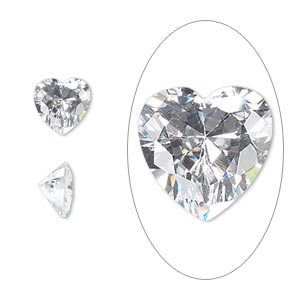 gem, cubic zirconia, spinel white, 8x8mm faceted heart, mohs hardness 8-1/2. sold individually.