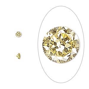 gem, cubic zirconia, topaz gold, 3mm faceted round, mohs hardness 8-1/2. sold per pkg of 5.