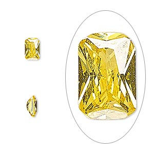 gem, cubic zirconia, topaz gold, 6x4mm faceted emerald-cut, mohs hardness 8-1/2. sold per pkg of 2.