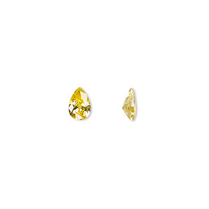 gem, cubic zirconia, topaz gold, 6x4mm faceted pear, mohs hardness 8-1/2. sold per pkg of 2.