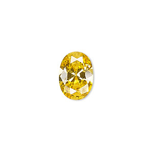gem, cubic zirconia, topaz gold, 7x5mm faceted oval, mohs hardness 8-1/2. sold per pkg of 2.