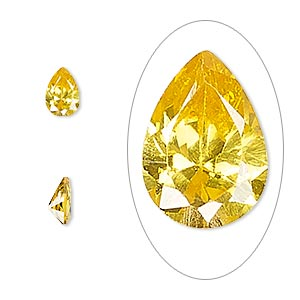 gem, cubic zirconia, topaz gold, 7x5mm faceted pear, mohs hardness 8-1/2. sold per pkg of 2.