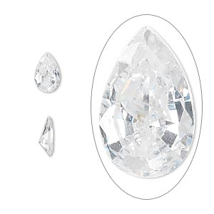 gem, cubic zirconia, white, 8x5mm faceted pear, mohs hardness 8-1/2. sold per pkg of 5.