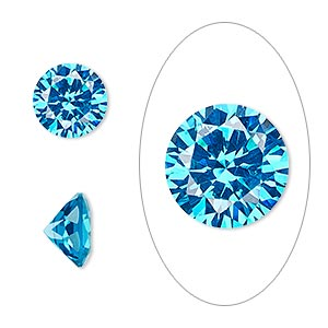 gem, cubic zirconia, zircon blue, 10mm faceted round, mohs hardness 8-1/2. sold individually.