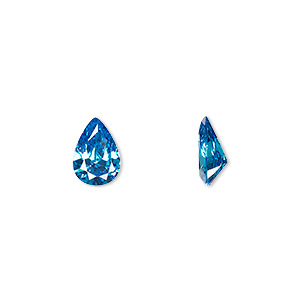 gem, cubic zirconia, zircon blue, 10x7mm faceted pear, mohs hardness 8-1/2. sold individually.