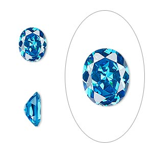 gem, cubic zirconia, zircon blue, 10x8mm faceted oval, mohs hardness 8-1/2. sold individually.