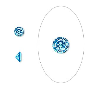 gem, cubic zirconia, zircon blue, 5mm faceted round, mohs hardness 8-1/2. sold per pkg of 2.