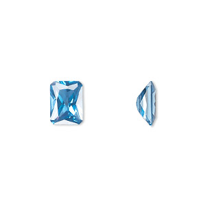 gem, cubic zirconia, zircon blue, 8x6mm faceted emerald-cut, mohs hardness 8-1/2. sold per pkg of 2.