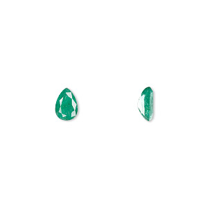 gem, emerald (oiled), 7x5mm faceted pear, a grade, mohs hardness 7-1/2 to 8. sold individually.