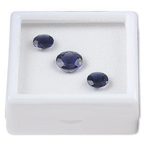 gem, iolite (natural), (2) 8mm and (1) 10mm faceted round, b grade, mohs hardness 7 to 7-1/2. sold per 3-piece set.