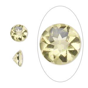 gem, lemon quartz (heated), 8mm buffed-top faceted round, a grade, mohs hardness 7. sold per pkg of 2.