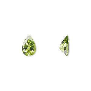 gem, peridot (natural), 10x7mm faceted pear, a grade, mohs hardness 6-1/2 to 7. sold individually.