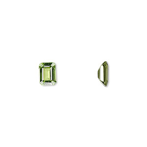 gem, peridot (natural), 7x5mm faceted emerald-cut, a grade, mohs hardness 6-1/2 to 7. sold individually.