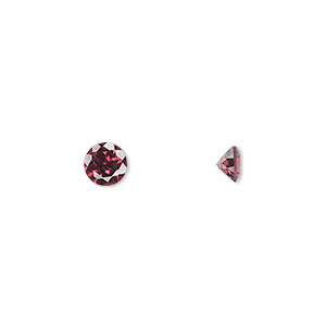 gem, rhodolite garnet (natural), 5mm hand-cut faceted round, a grade, mohs hardness 7 to 7-1/2. sold individually.