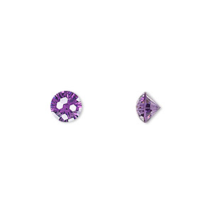 gem, skyrocket cut, cubic zirconia, amethyst purple, 6.5mm faceted round, mohs hardness 8-1/2. sold individually.
