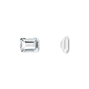 gem, white topaz (natural), 8x6mm faceted emerald-cut, a grade, mohs hardness 8. sold individually.