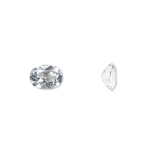 gem, white topaz (natural), 8x6mm faceted oval, a grade, mohs hardness 8. sold individually.