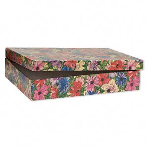 gift box, metallic floral, 7 x 5 x 1-1/4 inch rectangle with cotton filling. sold per pkg of 10.