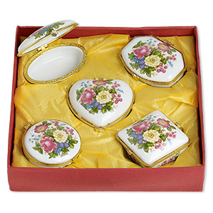 gift box mix, porcelain / acrylic / gold-finished pewter (zinc-based alloy), white and multicolored, 2-1/2 x 2 to 3x2-inch hinged mixed shape with flower and leaves decal. sold per 5-piece set.