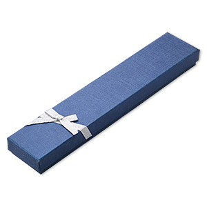 gift box, paper and foam, blue / silver / white, 8-1/2 x 1-1/2 x 3/4 inch rectangle with ribbon and bow. sold per pkg of 12.
