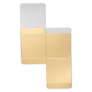gift box, paper, shiny gold, 3x3 inch square. sold per pkg of 3.