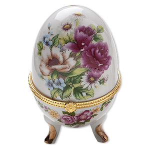 gift box, porcelain and gold-finished acrylic, white and multicolored, 4x2-inch hinged egg with floral decal. sold individually.