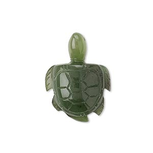 gift, jade (natural), medium to dark, 29x22mm carved sea turtle, mohs hardness 6-1/2 to 7. sold individually.