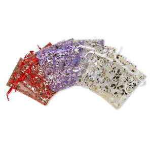 gift pouch mix, organza, mixed colors, 4-1/2 x 3 inches with rose pattern. sold per pkg of 12.
