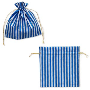 gift pouch, nylon, silver and blue, 6-1/4 x 6-1/4 inches with textured caftan stripes and drawstring. sold per pkg of 2.