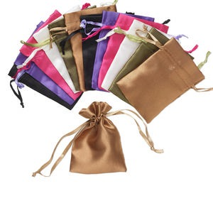 gift pouch, synthetic satin, assorted colors, 4 x 2-1/2 inches with drawstring. sold per pkg of 12.
