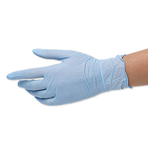 gloves, ambitex, nitrile rubber, blue, small. sold per pkg of 5 pairs.
