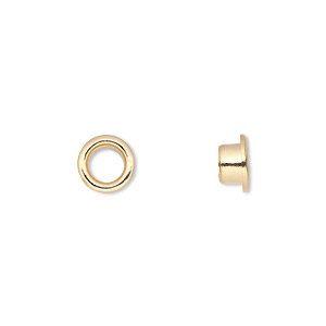 grommet, glue-in, gold-plated brass, 8mm round, 5mm inside diameter. sold per pkg of 100.