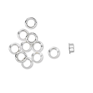 grommet, glue-in, sterling silver, 4x2mm round, 3.5mm inside diameter. sold per pkg of 10.