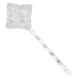 hair clip, silver-plated steel, 59x21mm with 21x21mm filigree diamond. sold per pkg of 8.