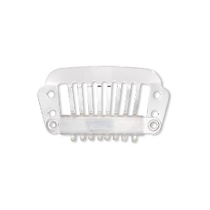 hair comb, silver-plated stainless steel, 28x16mm with 4 holes. sold per pkg of 12.